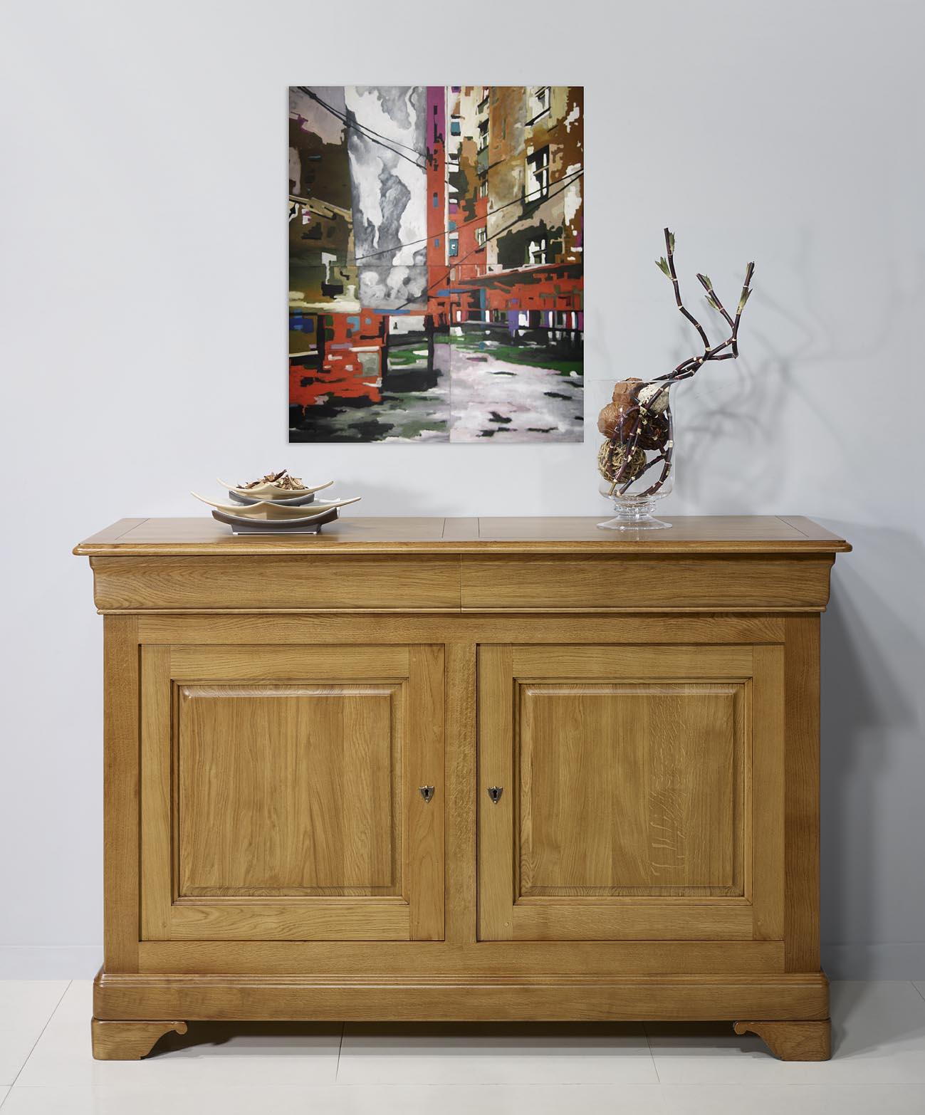 Buffet 2 portes en ch ne massif de style louis philippe for Finition de meuble en bois