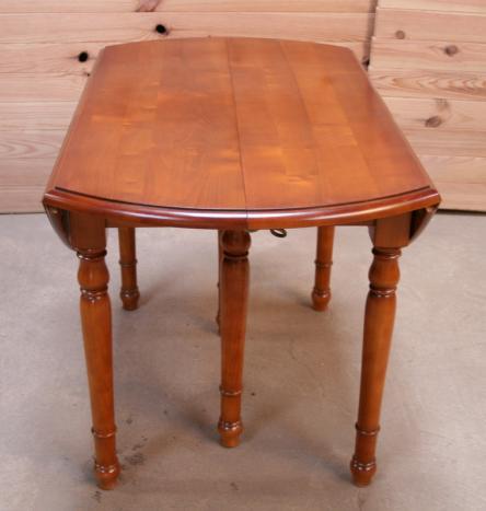 Table ronde volets diametre 120 en merisier massif de for Table 6 pieds louis philippe