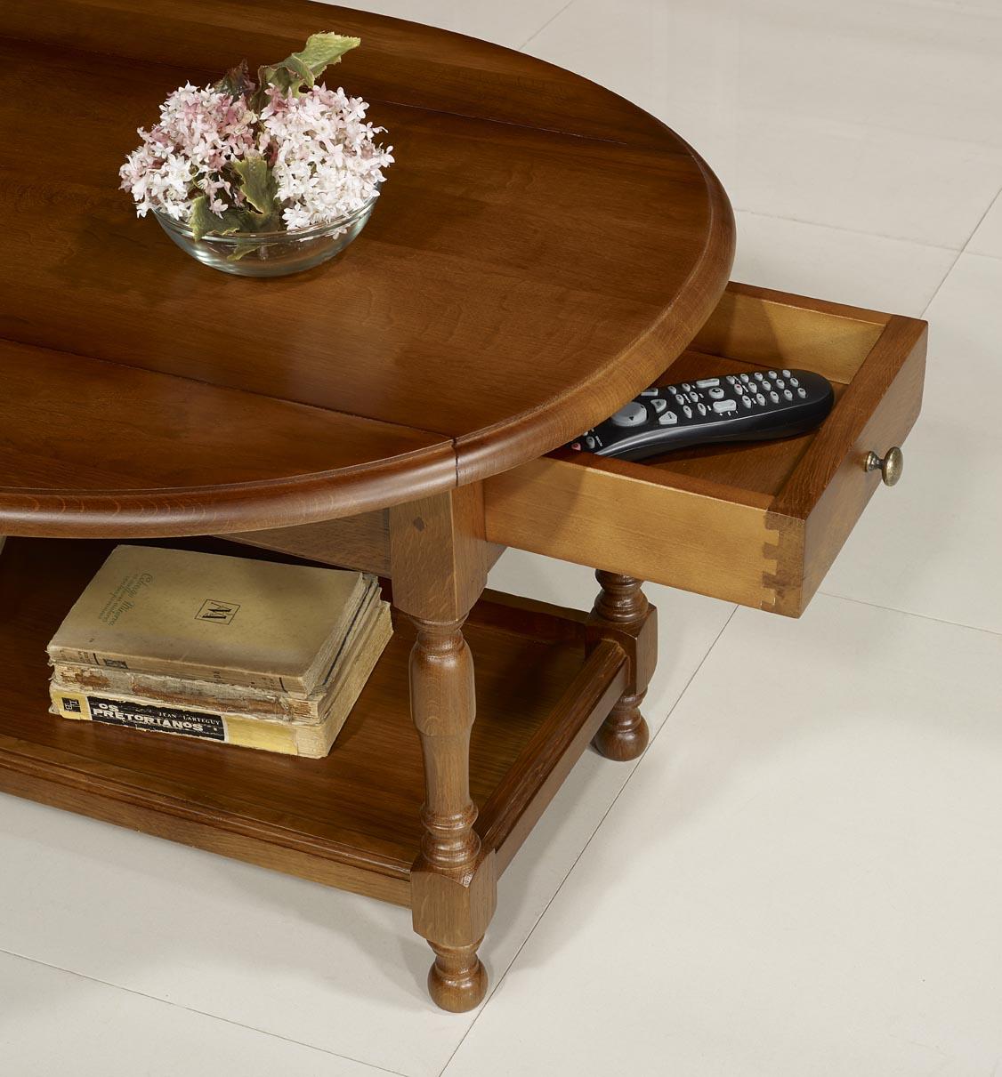 Table basse victor en ch ne massif de style louis philippe for Table basse en chene massif