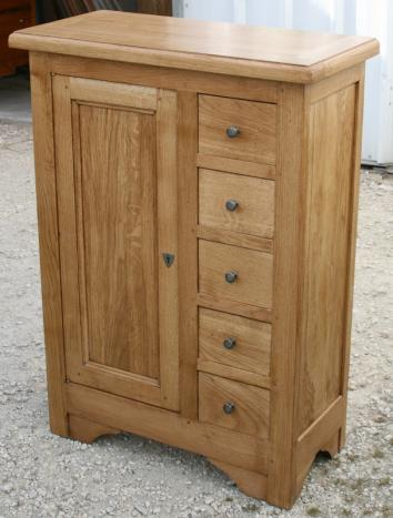 Farinier 1 porte 5 tiroirs en ch ne massif meuble en for Porte interieur chene massif