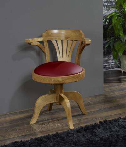 fauteuil de bureau marc en ch ne massif pivotant assise bordeaux meuble en ch ne massif. Black Bedroom Furniture Sets. Home Design Ideas