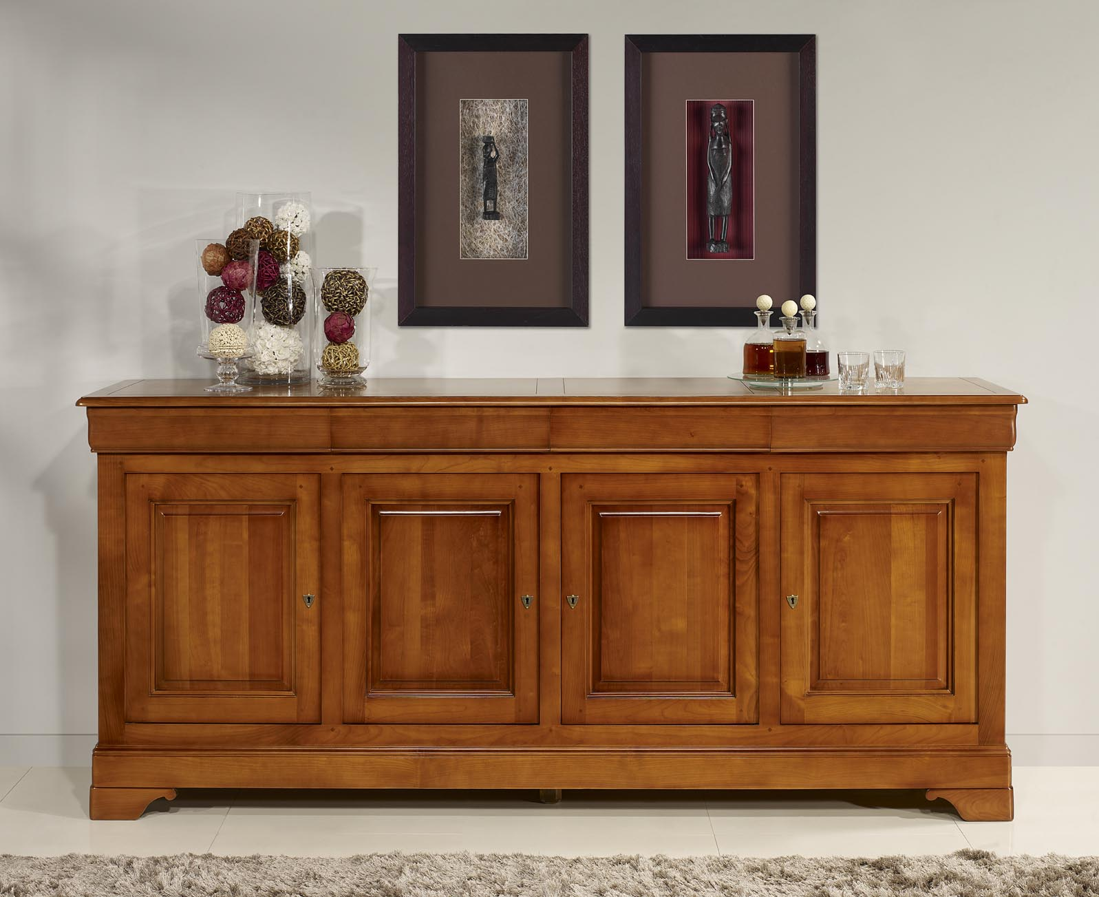 Buffet 4 portes en merisier massif de style louis philippe for Meuble buffet