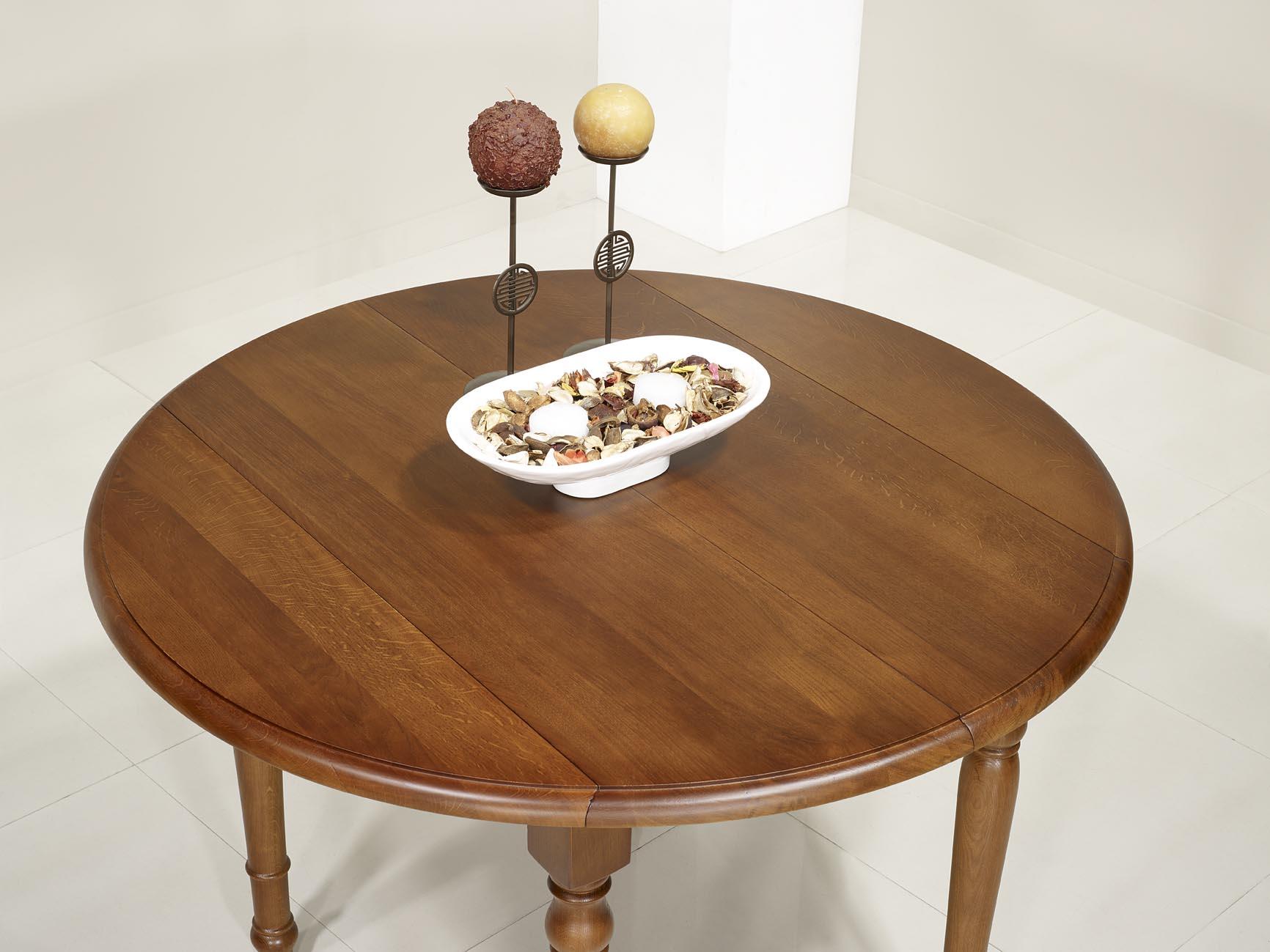 Table ronde volets simon en ch ne massif de style louis for Table ronde chene massif avec allonges
