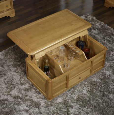 Table bar aur lien en ch ne de style louis philippe for Table basse coffre bar