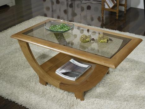 superbe table basse guillaume en ch ne massif plateau verre meuble en ch ne massif. Black Bedroom Furniture Sets. Home Design Ideas