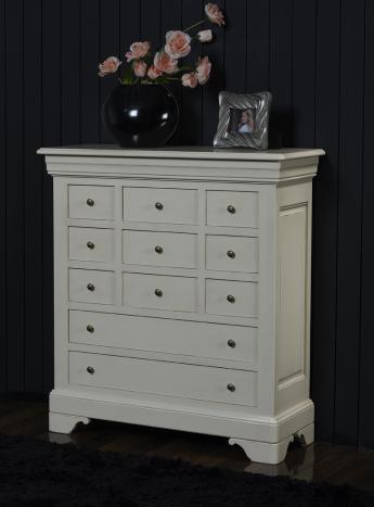 commode 11 tiroirs anne laure en merisier massif de style louis philippe patine creme meuble. Black Bedroom Furniture Sets. Home Design Ideas