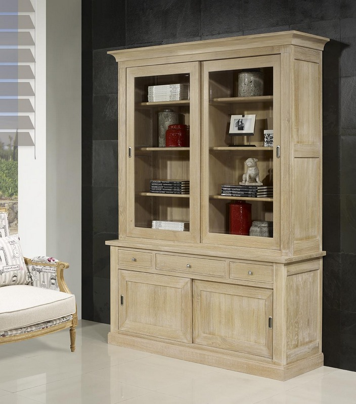 biblioth que 2 corps 2 portes xavier en ch ne massif de style directoire meuble en ch ne massif. Black Bedroom Furniture Sets. Home Design Ideas