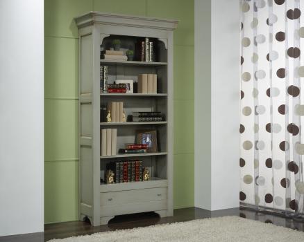 biblioth que en merisier massif de style louis philippe laqu gris patin et usur meuble en. Black Bedroom Furniture Sets. Home Design Ideas