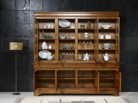 biblioth que 2 corps 4 portes en merisier massif de style louis philippe meuble en merisier massif. Black Bedroom Furniture Sets. Home Design Ideas