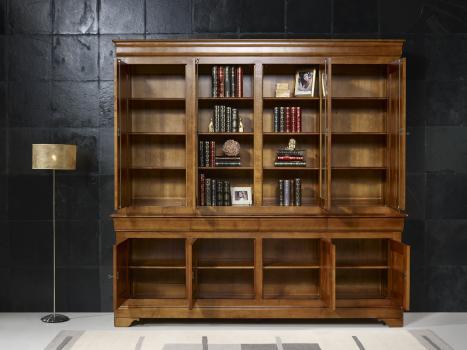Biblioth que 2 corps 4 portes en merisier massif de style - Meuble bibliotheque vitree ...