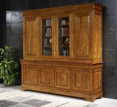 Biblioth que 2 corps 4 portes en merisier massif de style for Meuble deux portes bois