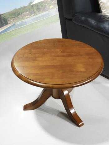 Table basse ronde annie en merisier massif de style louis for Petite table basse en bois