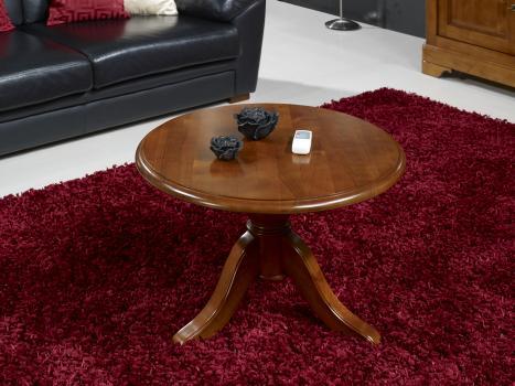 Table basse ronde annie en merisier massif de style louis philippe meuble e - Table basse ancienne en bois ...