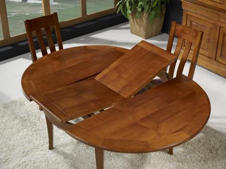 Table ronde 4 pieds c lia en merisier de style louis - Table ronde style louis philippe ...