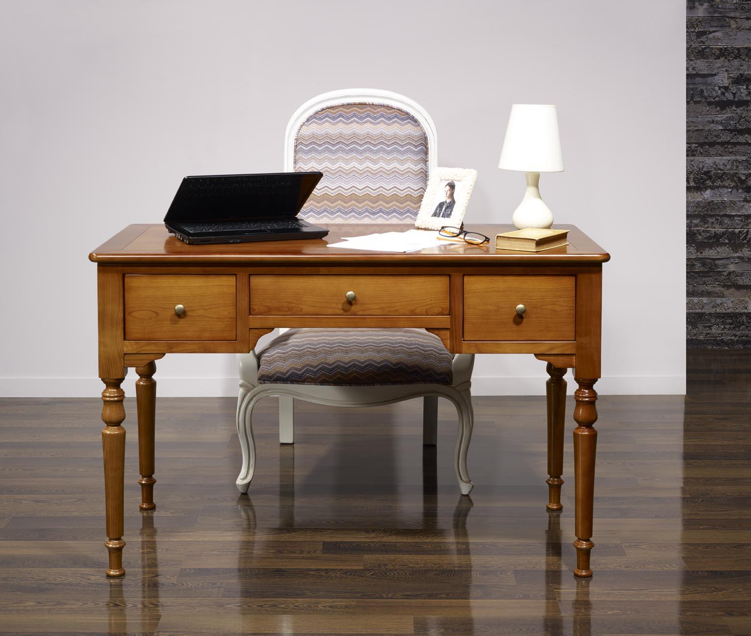 bureau 1 2 ministre en merisier massif de style louis. Black Bedroom Furniture Sets. Home Design Ideas