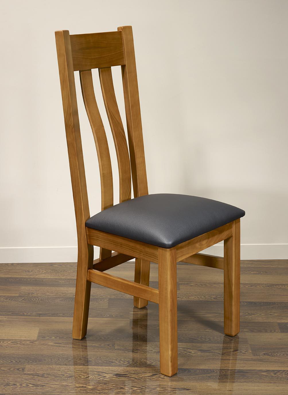 chaise annie em merisier massif de style contemporaine assise moleskine meuble en merisier massif. Black Bedroom Furniture Sets. Home Design Ideas