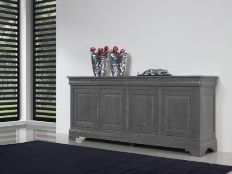 buffet 4 portes alice en ch ne massif de style louis philippe finition gris blanchi meuble en. Black Bedroom Furniture Sets. Home Design Ideas