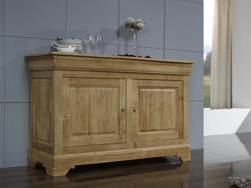 Buffet bas 2 portes vincent en ch ne massif de style louis - Idee relooking meuble bois ...