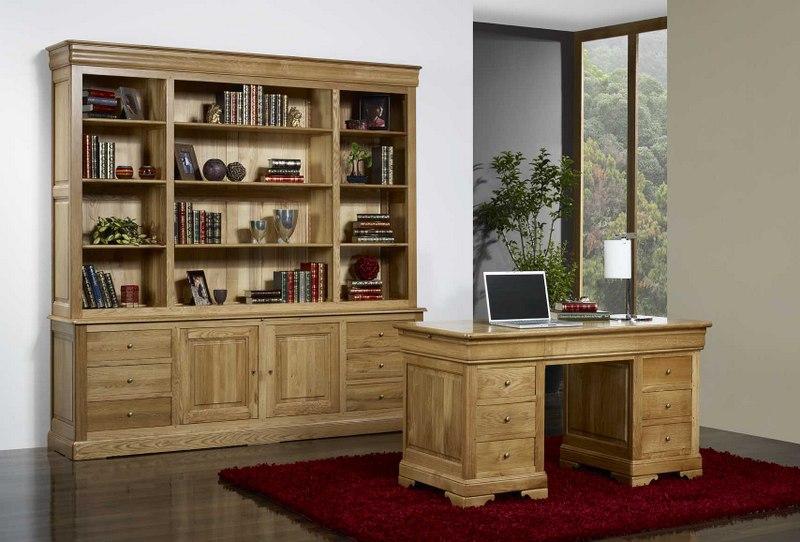 Bureau Ministre 9 tiroirs en Chêne Massif de style Louis Philippe , meuble en -> Bureaux Style Ministre