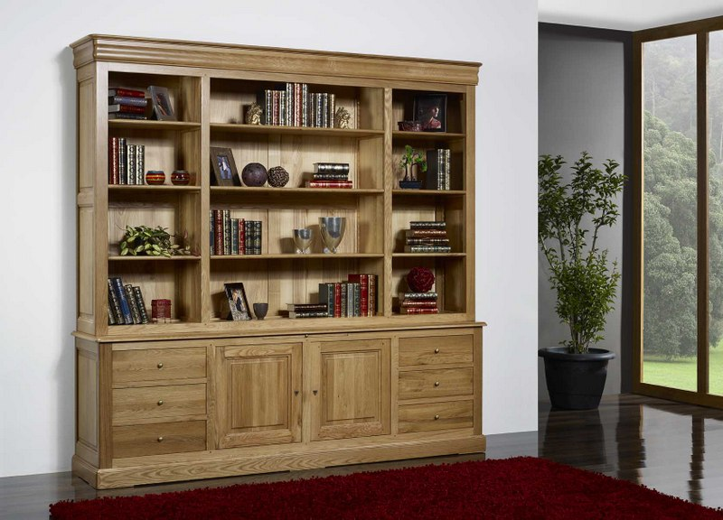 biblioth que 2 corps pierre en ch ne massif de style louis philippe longueur 240 cm meuble en. Black Bedroom Furniture Sets. Home Design Ideas