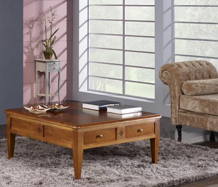 Table basse en merisier de style directoire meuble en for Table basse en merisier