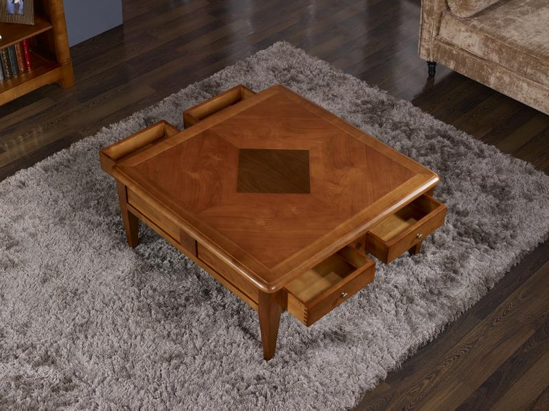 DirectoireMeuble Basse Table Merisier De En Style Massif BeCxod