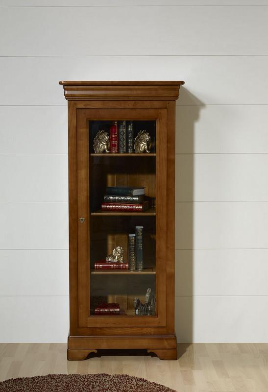 vitrine 1 porte en merisier massif de style louis philippe meuble en merisier massif. Black Bedroom Furniture Sets. Home Design Ideas