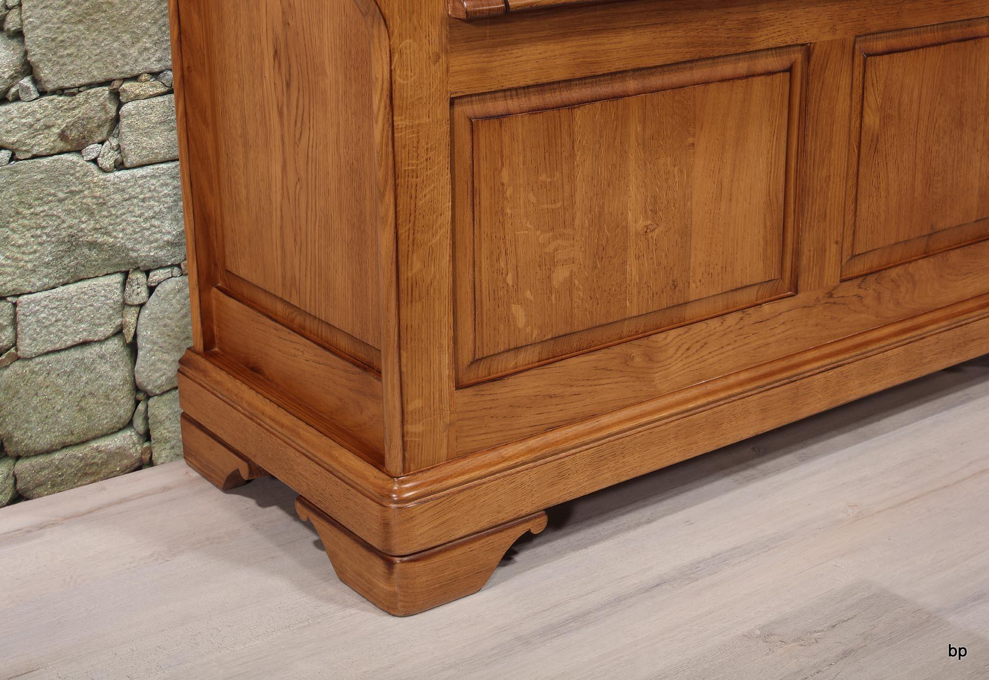 banc coffre l o en ch ne massif de style louis philippe finition ch ne dor antik meuble en. Black Bedroom Furniture Sets. Home Design Ideas