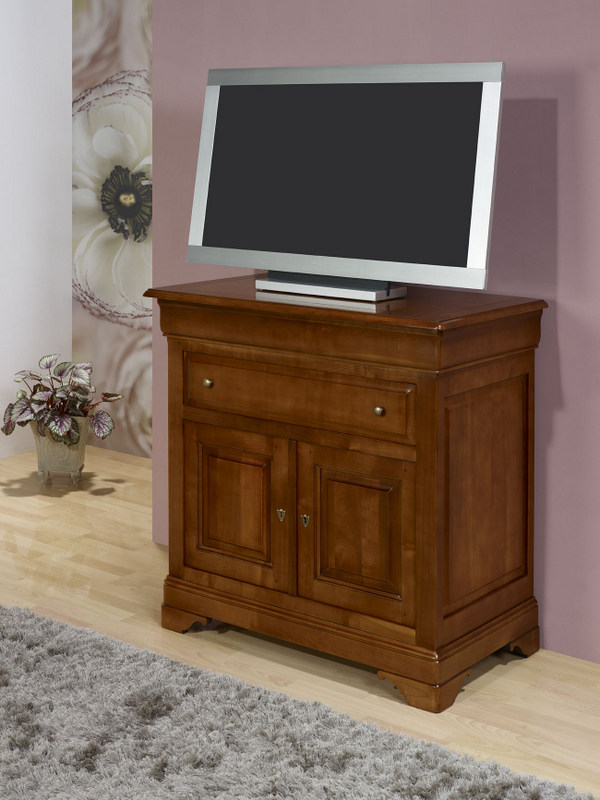 Meuble tv 2 portes en merisier massif de style louis for Table de television en bois