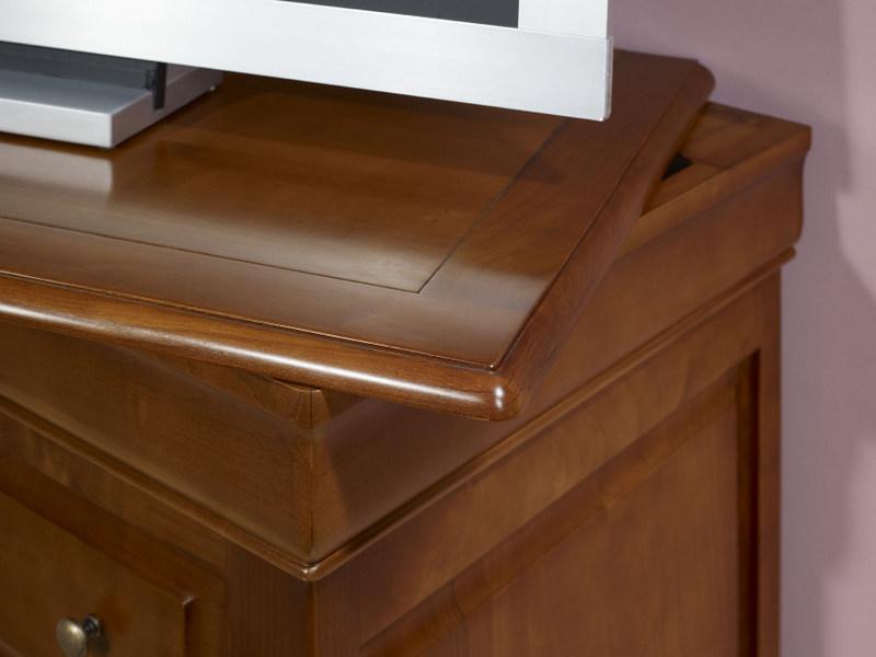 Meuble tv 2 portes en merisier massif de style louis philippe meuble en merisier massif - Meuble tv avec plateau tournant ...