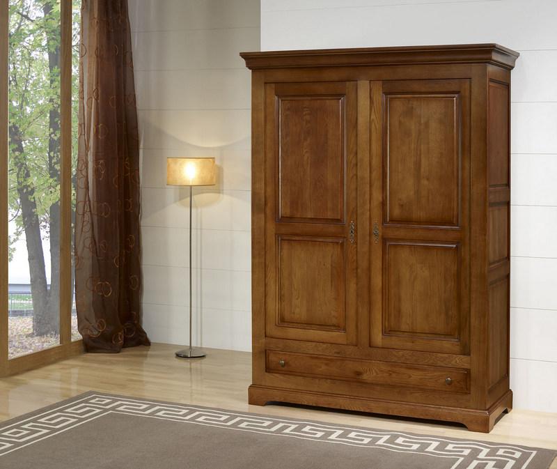 Armoire 2 portes en ch ne massif de style louis philippe for Armoire penderie 4 portes