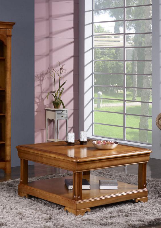 Table basse carr e en merisier de style louis philippe meuble en merisier massif - Table basse louis philippe ...