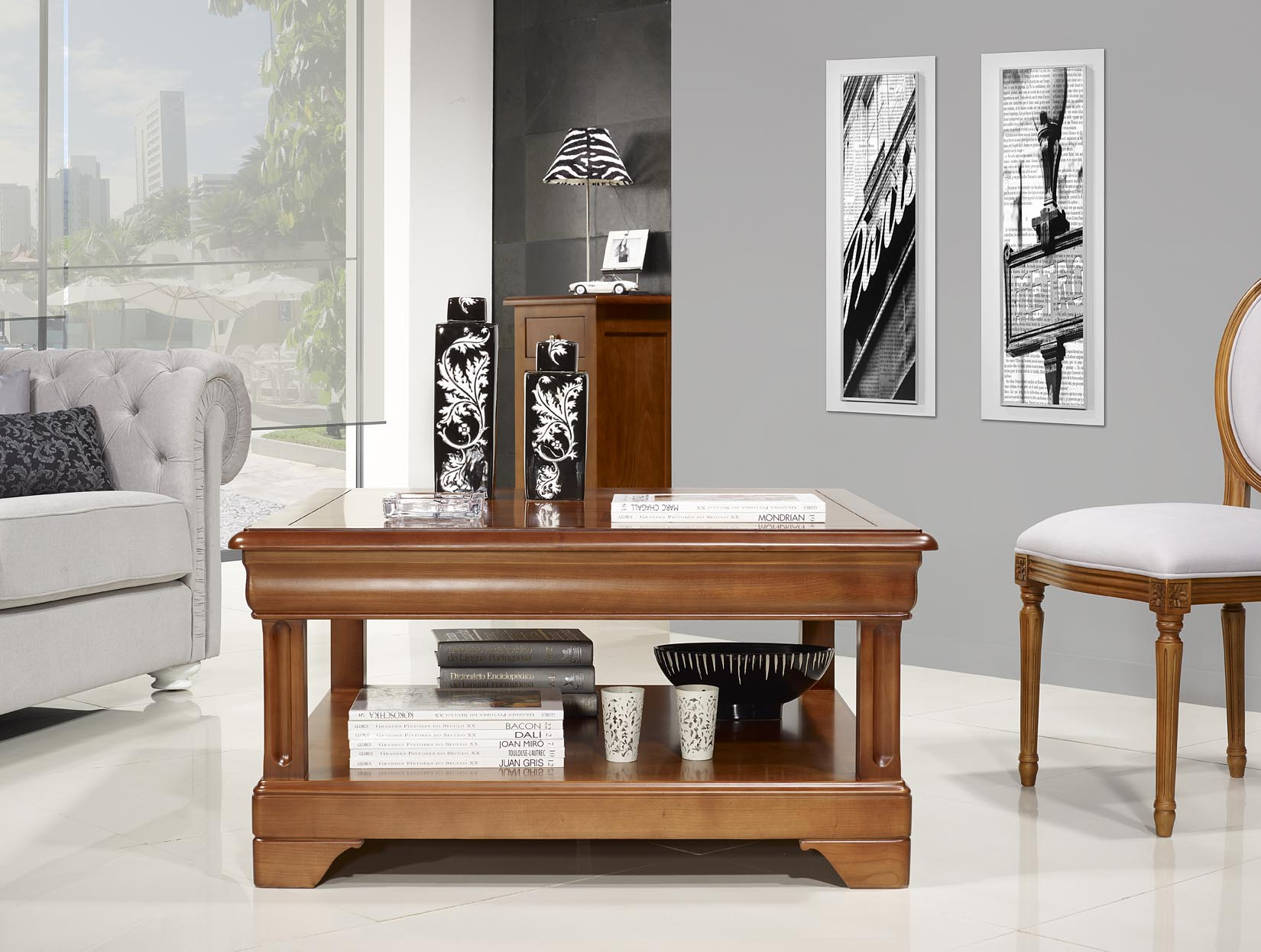 Table Basse Carr E En Merisier De Style Louis Philippe Meuble En  # Classeur De Salon En Bois