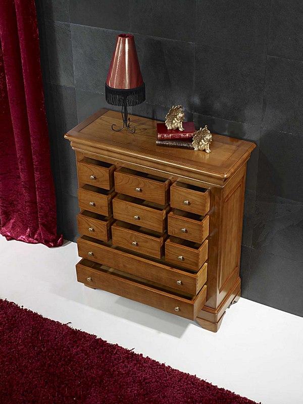 commode 11 tiroirs r my en merisier massif de style louis. Black Bedroom Furniture Sets. Home Design Ideas