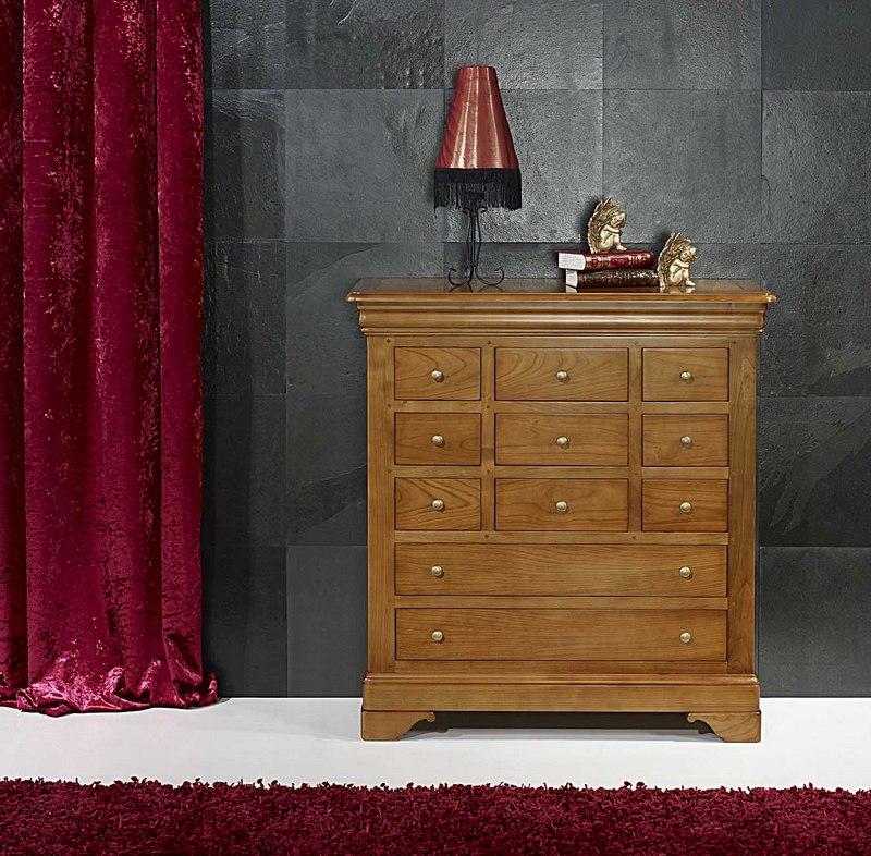 Commode 11 tiroirs r my en merisier massif de style louis philippe meuble en merisier massif - Commode merisier louis philippe ...