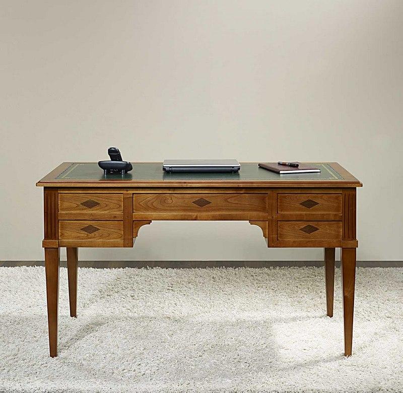 bureau ministre 5 tiroirs en merisier massif de style directoire meuble en merisier massif. Black Bedroom Furniture Sets. Home Design Ideas