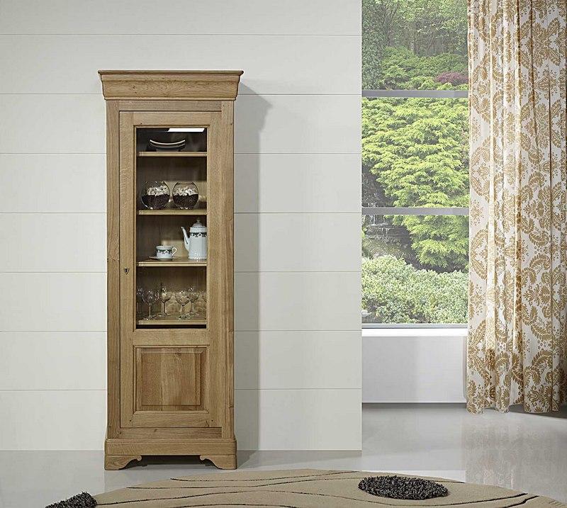 Vitrine 1 porte en chêne massif de style Louis Philippe , meuble en Chêne massif -> Vitrine En Bois Massif