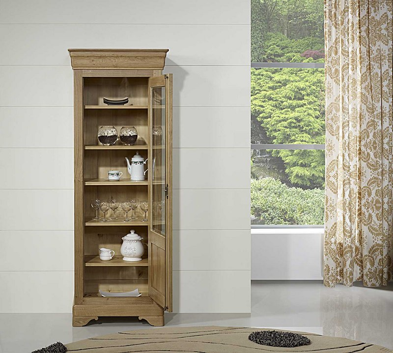 vitrine 1 porte en ch ne massif de style louis philippe meuble en ch ne massif. Black Bedroom Furniture Sets. Home Design Ideas