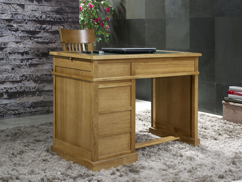 petit bureau luc en ch ne de style louis philippe surface d 39 criture en moleskine verte. Black Bedroom Furniture Sets. Home Design Ideas