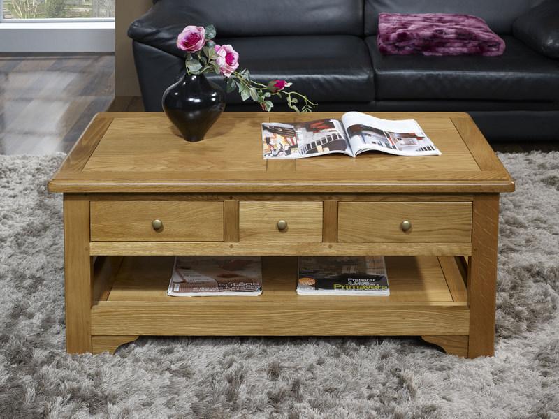 Table basse rectangulaire jean baptiste en ch ne de style - Table basse bois blanchi ...