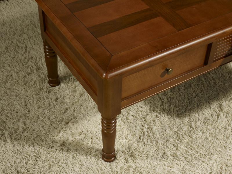 table basse agathe en merisier de style louis philippe plateau marquette meuble en merisier massif. Black Bedroom Furniture Sets. Home Design Ideas