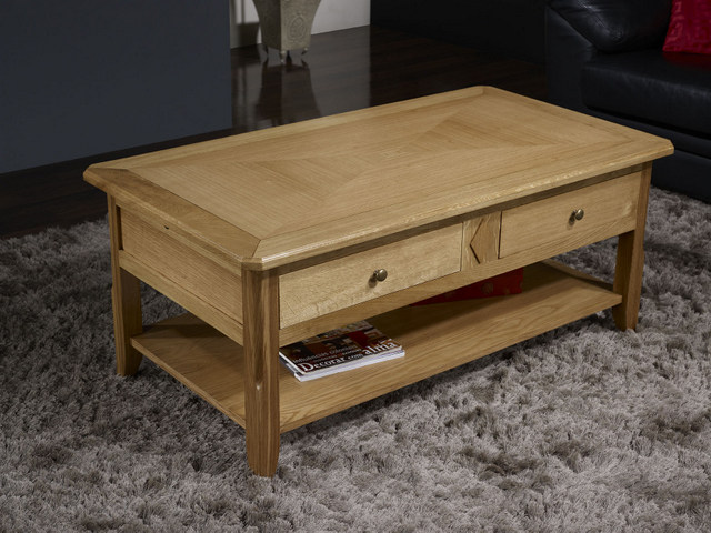 Table basse cl ment en ch ne de style louis philippe - Plateau de table chene massif ...