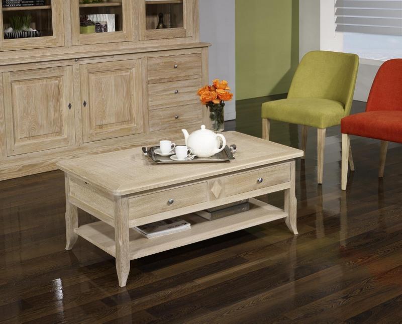 table basse cl ment en ch ne de style louis philippe. Black Bedroom Furniture Sets. Home Design Ideas