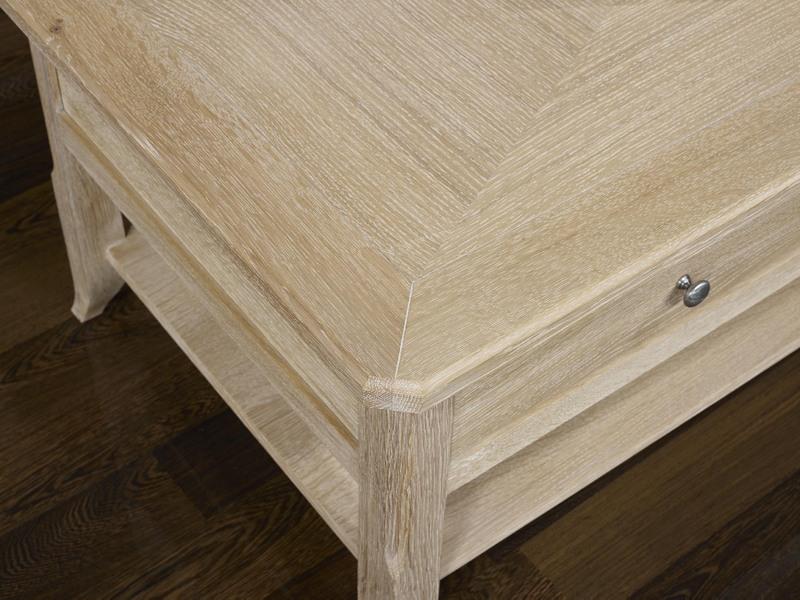 Table basse cl ment en ch ne de style louis philippe plateau marquete finition bross blanchi - Plateau de table en chene massif ...