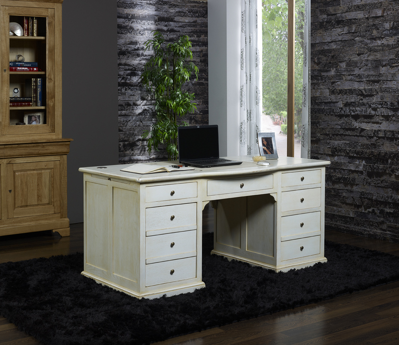 bureau ministre simon en ch ne de style louis philippe special informatique patine chene blanchi. Black Bedroom Furniture Sets. Home Design Ideas