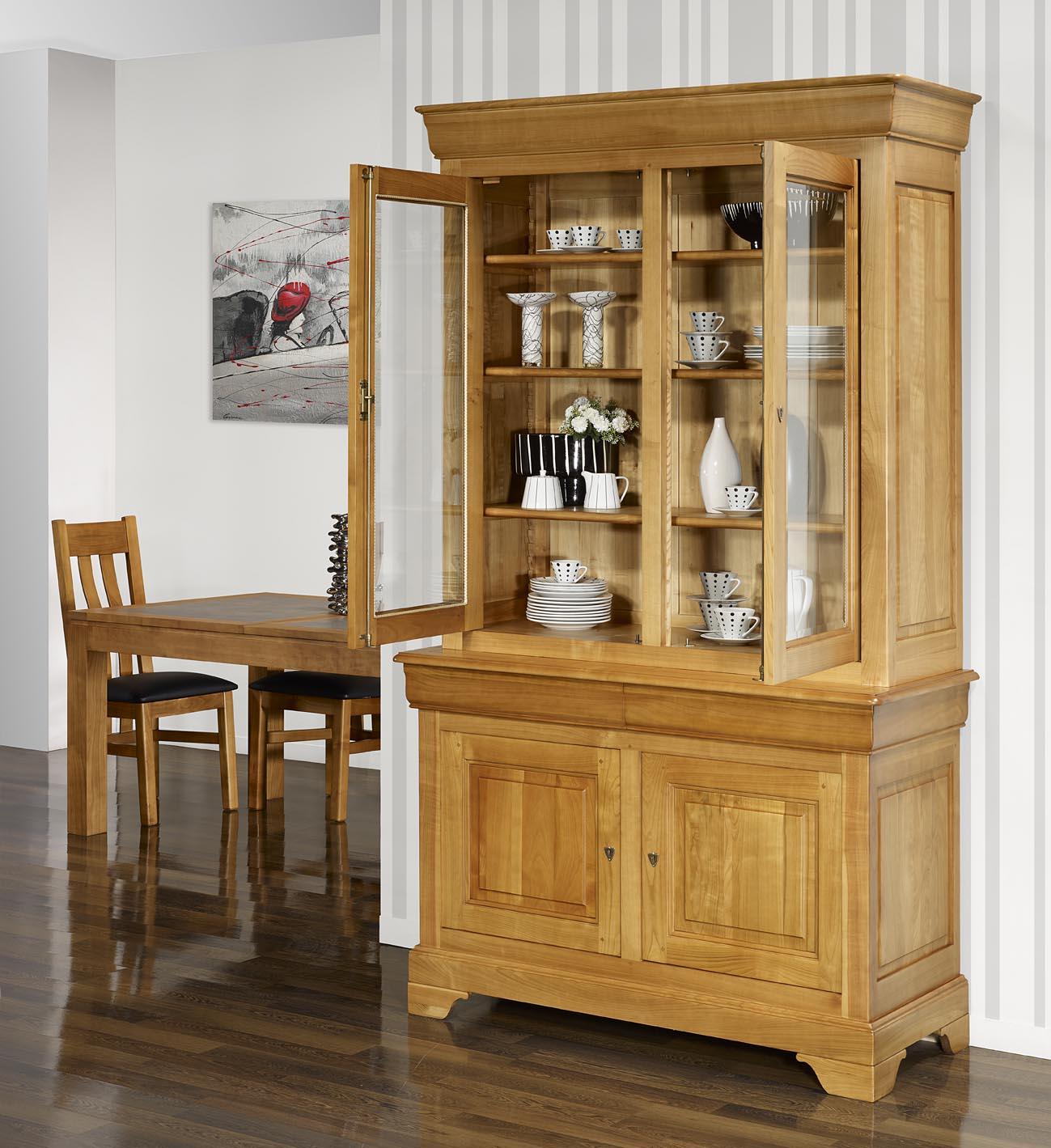 Vaisselier 2 corps 2 portes le en merisier massif de style louis philippe meuble en merisier - Meuble merisier style louis philippe ...