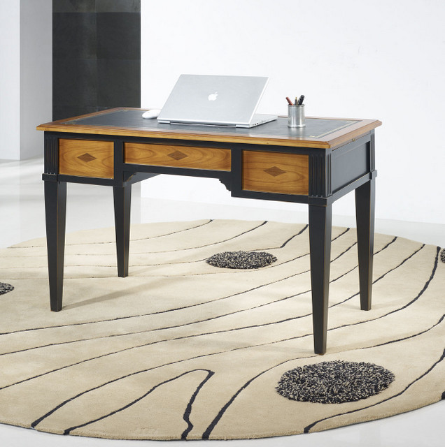 Bureau meuble bois finest bureau babette bureau droit - Bureau bois et noir ...
