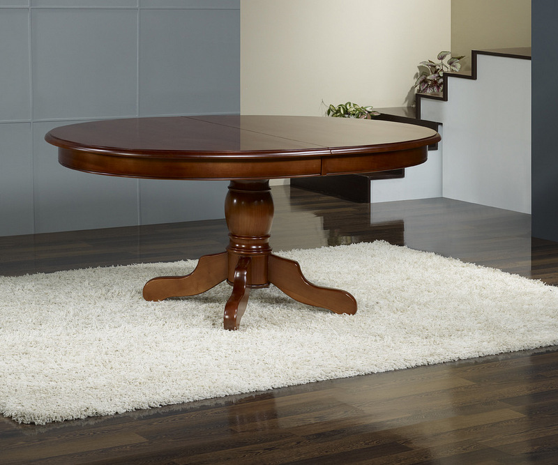 Table ovale pieds central en merisier massif 170x110 3 for Table ovale pied central