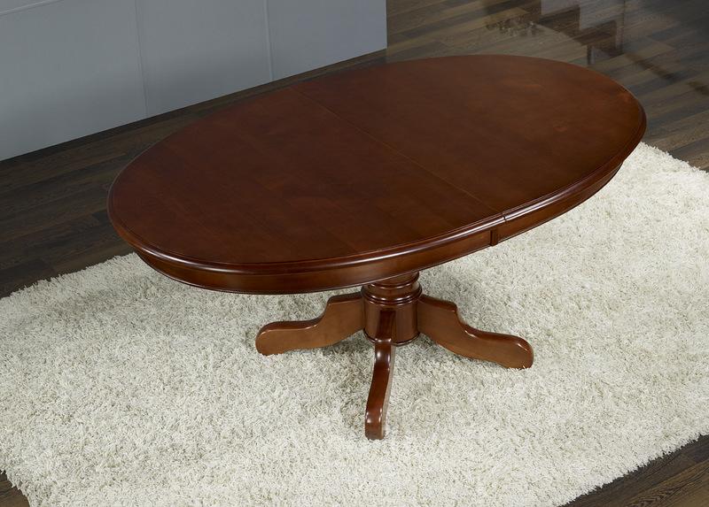 Table ovale pieds central en merisier massif 160 120 avec 3 allonges de 40 cm meuble en - Table ovale avec pied central ...