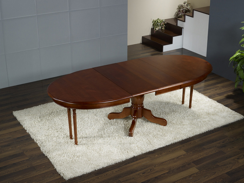 table ovale pieds central en merisier massif 160 120 avec. Black Bedroom Furniture Sets. Home Design Ideas